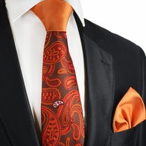 Amberglow Paisley Contrast Knot Tie Set by Paul Malone