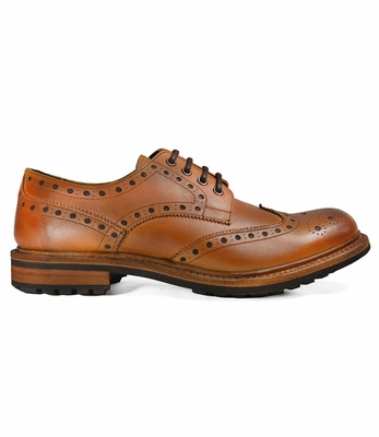 Antique Brown Men's Full Leather Shoes by Paul Malone