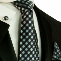 Aqua Green and Purple Checked Silk Necktie Set by Paul Malone (559CH)