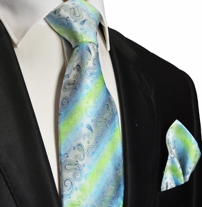 Aqua Silk Tie and Pocket Square . Paul Malone