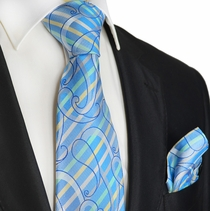 Aquamarine Striped Silk Tie Set by Paul Malone