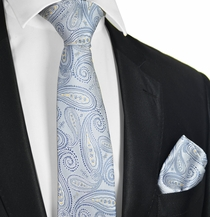 Arctic Ice Paisley Tie and Pocket Square Set