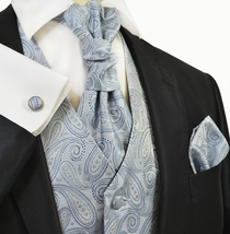 Arctic Ice Paisley Tuxedo Vest Set by Paul Malone