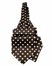 Ascot Tie and Pocket Square . Brown and Cream Polka Dots . Self Tie (A44-4)