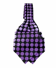 Ascot Tie and Pocket Square . Black with Purple Polka Dots (A202-Black-Purple)