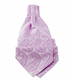 Ascot Tie and Pocket Square Set . Lavender Paisley (A90-7)