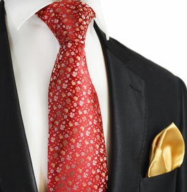Aurora Red and Clay 7-fold Silk Tie Set by Paul Malone