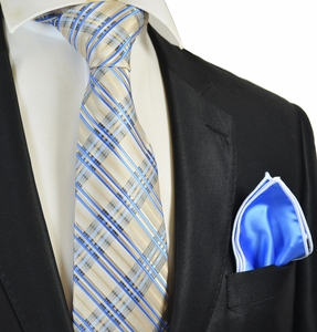 Beige and Blue Tie with Contrast Rolled Pocket Square Set