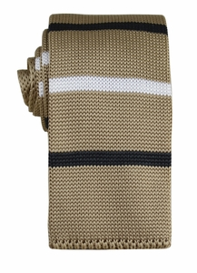 Beige, Black and White Knit Tie by Paul Malone (KN673)