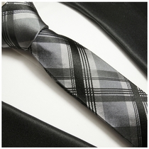 Black a. Gray Plaids . Mens Silk Tie by Paul Malone (997)