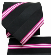Black a. Pink Striped Necktie Set (Q506-T)