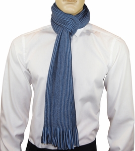 Black and Blue Striped Men's Scarf by Paul Malone
