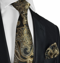 Black and Brown Paisley Tie and Pocket Square
