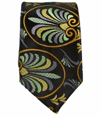 Black and Curry Slim Silk Tie by Paul Malone