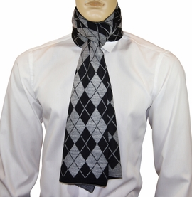 Black and Grey Argyle Men's Scarf by Paul Malone
