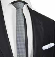 Black and Grey Panel Slim Tie and Pocket Square
