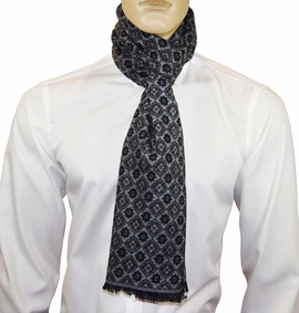 Black and Grey Patterned Men's Scarf by Paul Malone