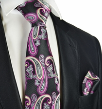 Black and Hot Pink Paisley Tie and Pocket Square