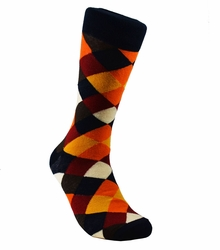 Black and Orange Cotton Dress Socks by Paul Malone