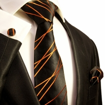 Black and Orange Silk Necktie Set by Paul Malone