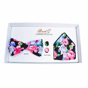Black and Pink Floral Bow Tie Gift Box