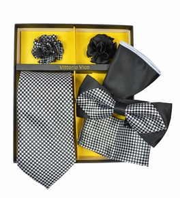 Black and Silver Checkered Tie Set Gift Box