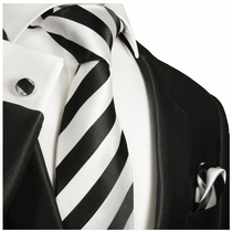 Black and Silver Club Tie Set by Paul Malone (832CH)