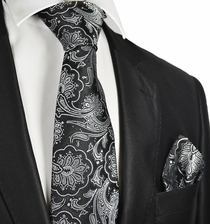 Black and Silver Formal Tie and Pocket Square
