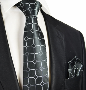 Black and Silver Men's Wedding Tie and Pocket Square