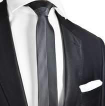 Black and Silver Panel Slim Tie and Pocket Square