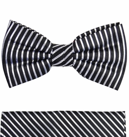 Black and Silver Silk Bow Tie Set by Paul Malone