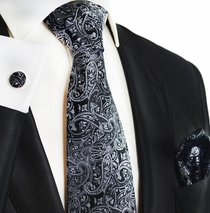 Black and Silver Silk Tie and Accessories by Paul Malone