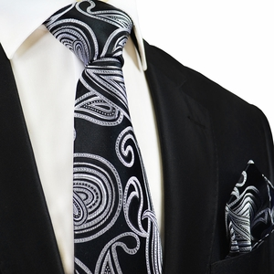 Black and Silver Silk Tie and Pocket Square by Paul Malone
