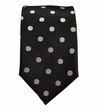 Black and Silver/White Slim Silk Tie by Paul Malone