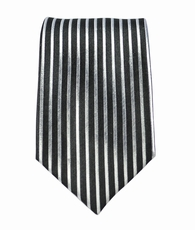 Black and Silver Striped Boys Silk Tie