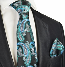 Black and Turquoise Paisley Tie and Pocket Square
