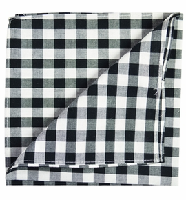 Black and White Cotton Pocket Square by Paul Malone