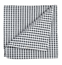Black and White Gingham Cotton Pocket Square by Paul Malone
