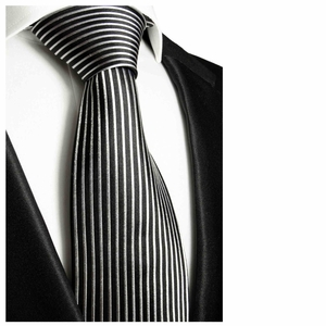 Black and Silver Paul Malone Neck Tie, 100% Silk (408)
