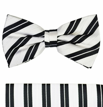 Black and White Silk Bow Tie Set by Paul Malone