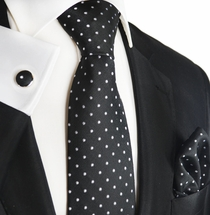 Black and White Silk Tie Set by Paul Malone