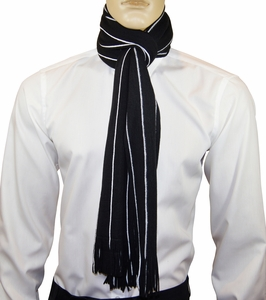 Black and White Striped Men's Scarf by Paul Malone