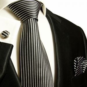 Black and Silver Striped Paul Malone Silk Tie Set (408CH)