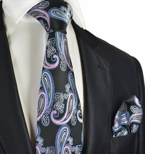 Black, Blue and Pink Paisley Tie Set