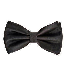 Black Bow Tie and Pocket Square Set (BT100-B)