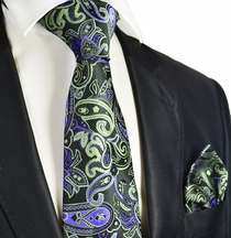 Black, Green and Purple Tie and Pocket Square