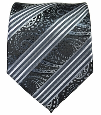 Black, Grey and White Mens Tie