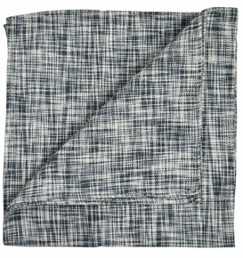 Black Linen/Cotton Pocket Square by Paul Malone