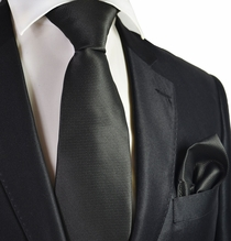Black Micro-checked Necktie and Pocket Square