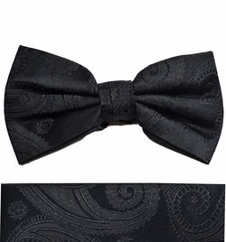 Black Paisley Bow Tie and Pocket Square Set by Paul Malone . 100% Silk (BT815H)
